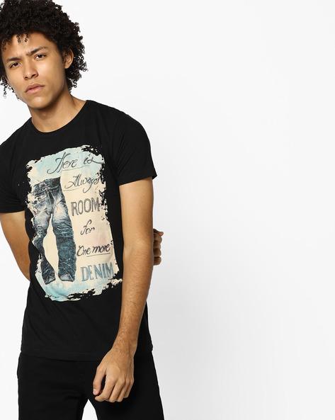 Cotton Graphic Print T-shirt By Killer ( Black )