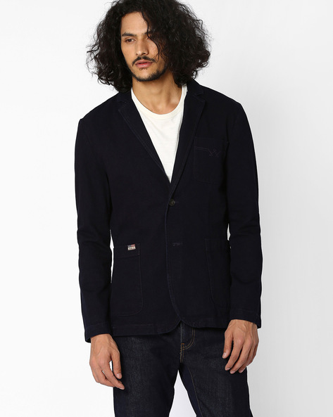 Single-Breasted Blazer With Elbow Patches By WRANGLER ( Blue )