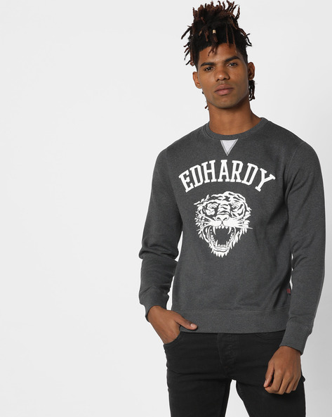Graphic Print Crew-Neck Sweater By ED HARDY ( Black )