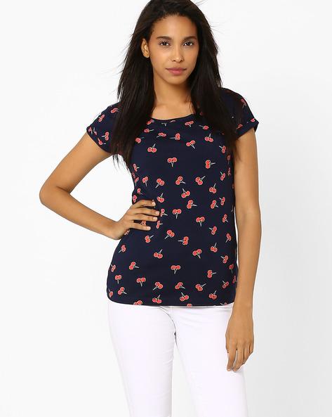 Printed T-shirt By Honey By Pantaloons ( Navyblue )