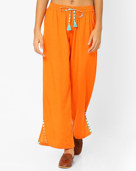 Flared Pants With Slit Hems By AJIO ( Orange )