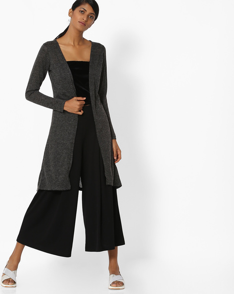 Knitted Longline Shrug By DNMX ( Charcoal )