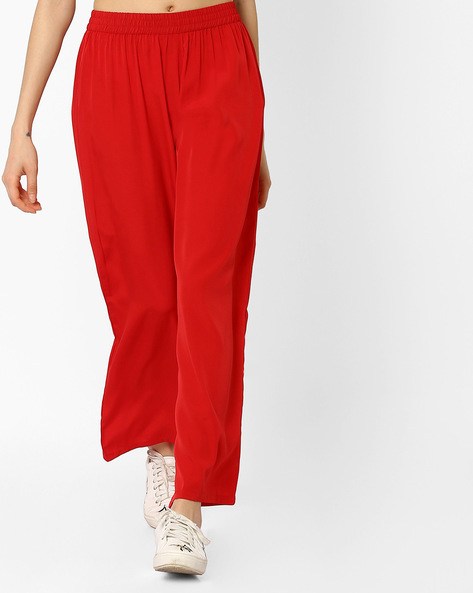 Palazzo Pants With Elasticated Waist By AURELIA ( Red )