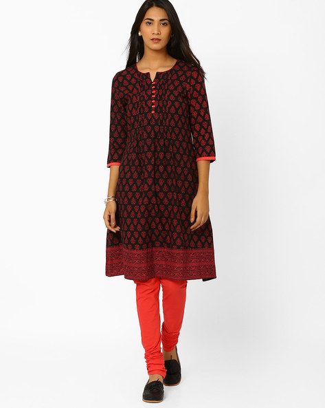 Printed Flared Churidar Kurta By AVAASA SET ( Black )