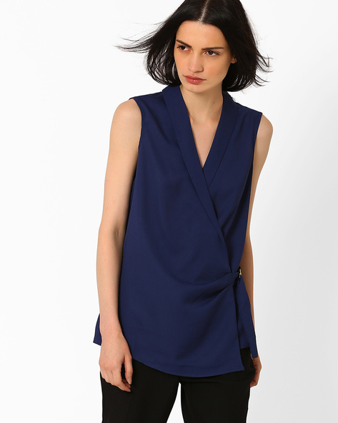 Front Wrap Woven Top By AJIO ( Navyblue )