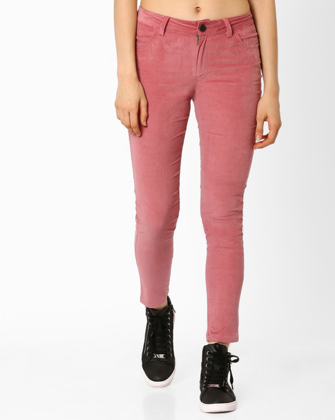 Slim Fit Corduroy Trousers By AJIO ( Rose )