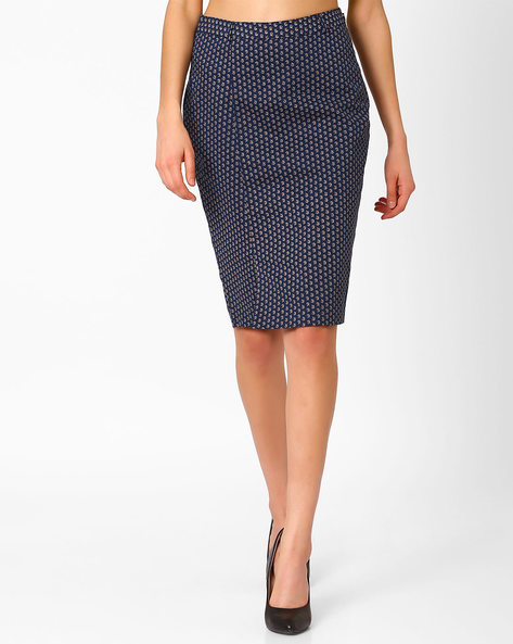 Ditsy Print Pencil Skirt By AJIO ( Navyblue )