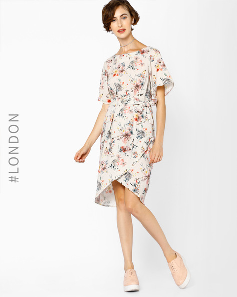Floral Print Dress With Short Kimono Sleeves By Closet London ( Multi )