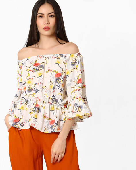 Floral Printed Off-Shoulder Top By Ginger By Lifestyle ( Offwhite )