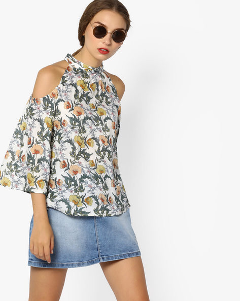 Floral Print Top With Cold-Shoulders By CODE By Lifestyle ( Offwhite )