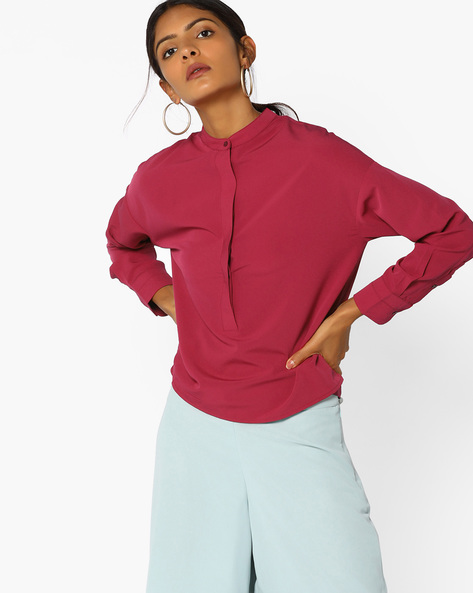 Open-Back Top With Tie-Up By AJIO ( Maroon )