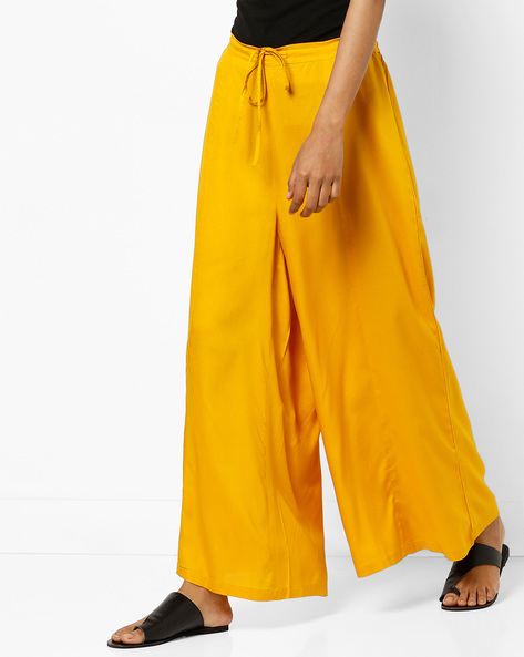 Mid-Rise Palazzos With Tie-Up By AYAANY ( Mustard )