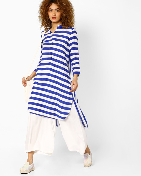 Striped High-Low Kurta By Sassafras ( Blue )