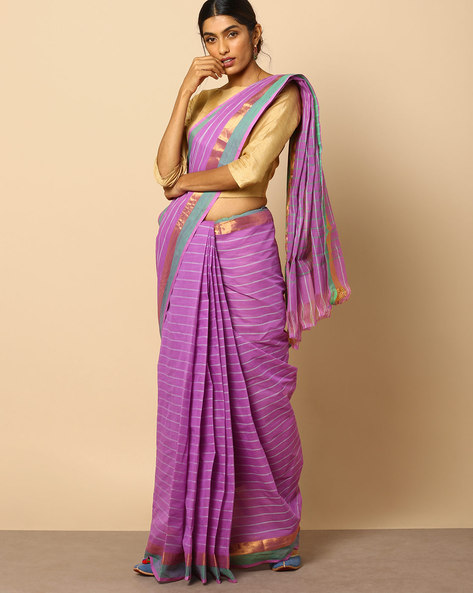South Cotton Striped Saree With Zari Border By Indie Picks ( Purple )