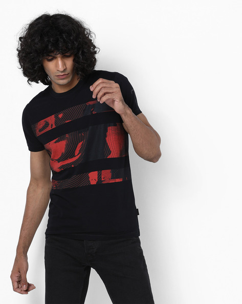 Slim Fit Graphic Print T-shirt By Pepe Jeans ( Black )
