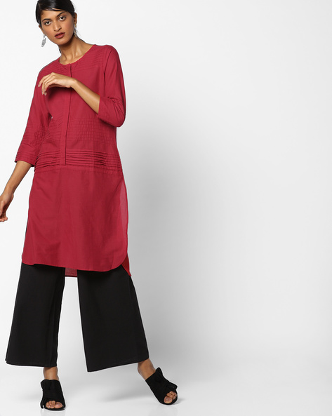 High-Low Pintucked Kurta With Mock Placket By Melange By Lifestyle ( Red )