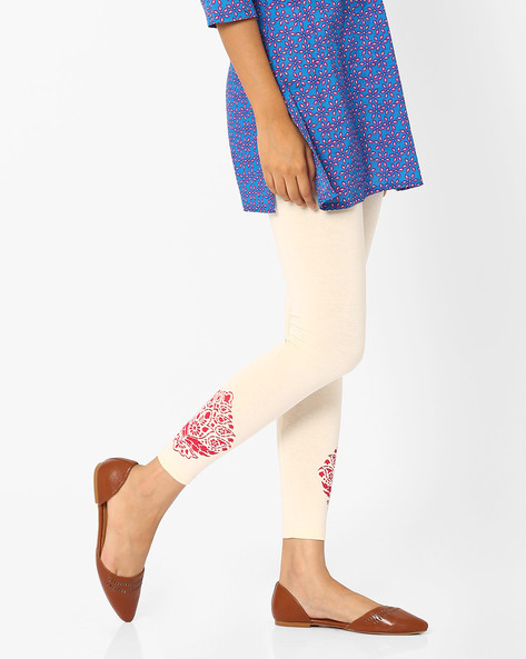 Leggings With Printed Hems By Indian Ink ( Offwhite )