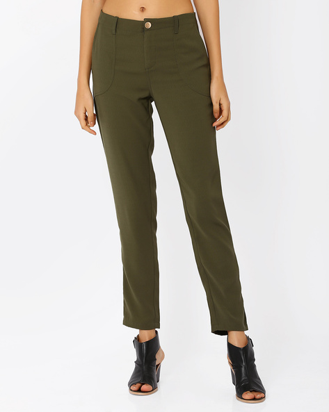 Ankle-Length Trousers By AJIO ( Olive )