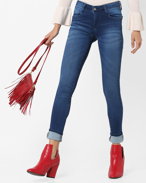 Skinny Fit Mid-Rise Jeans With Whiskers By KRAUS ( Blue )