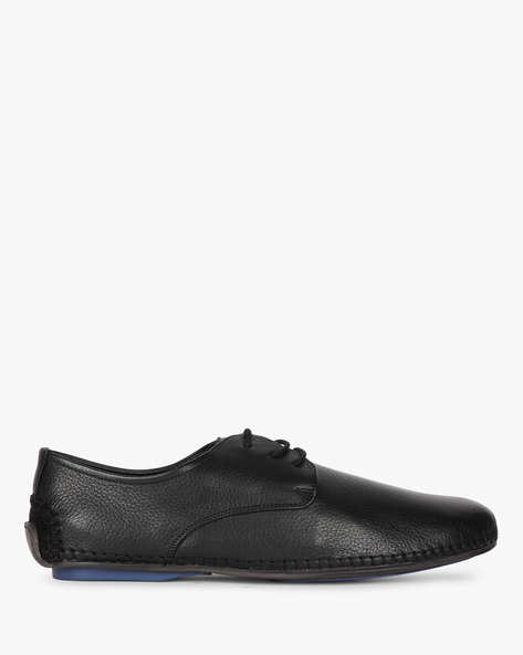 Genuine Leather Lace-Up Casual Shoes By Buckle Up ( Black )