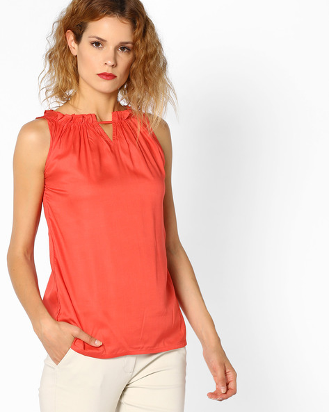 Sleeveless Top With Ruffled Neckline By And ( Coral )
