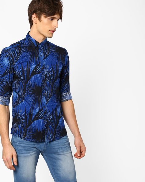 Tanner Tropical Print Slim Fit Shirt By WRANGLER ( Navy )