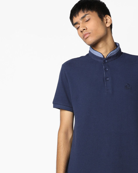 Textured Polo T-shirt With Contrast Collar By UNITED COLORS OF BENETTON ( Blue )