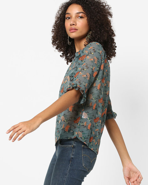 Floral Print Sheer Top By Only ( Blue )