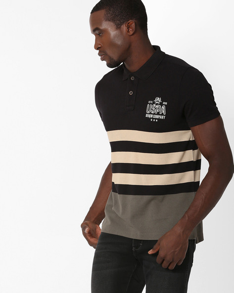 Muscle Fit Polo T-shirt With Stripes By US POLO ( Ivory )