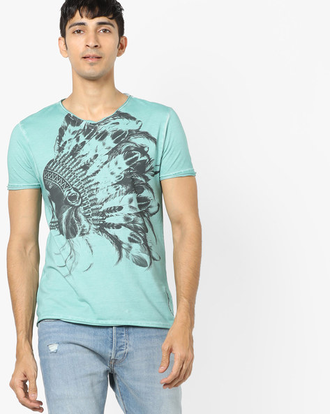 Graphic Print T-shirt With Raw Hems By ED HARDY ( Grey )