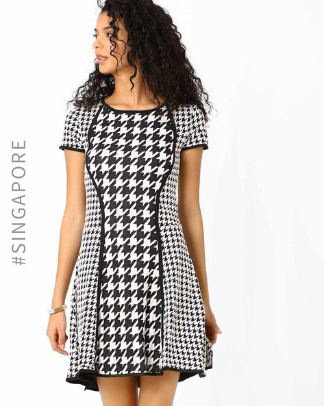 Printed Fit & Flare Dress By MDS ( Black )