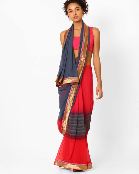 Georgette Saree With Zari Border By Florence ( Grey )