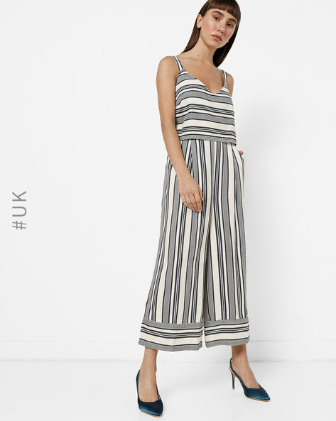 Strappy Popover Striped Jumpsuit By Native Youth ( Multi )