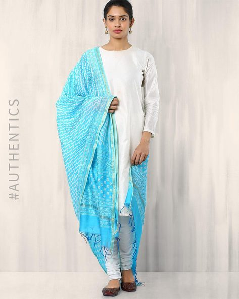 Bagru Printed Chanderi Dupatta By Indie Picks ( Lightblue ) - 460015876001
