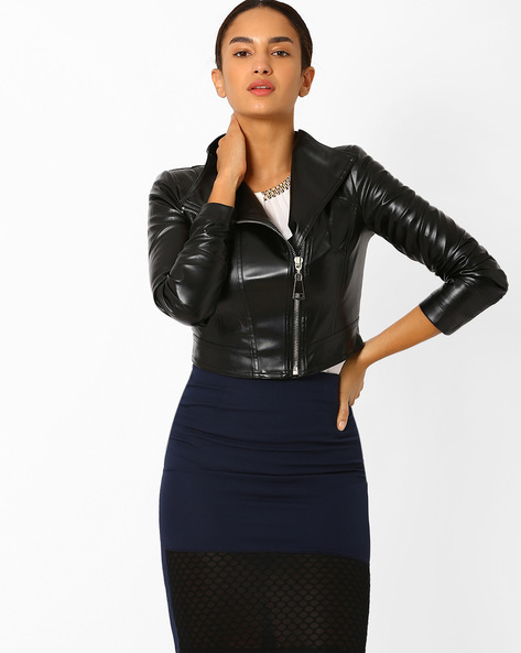 Cropped Biker Jacket By AJIO ( Black )
