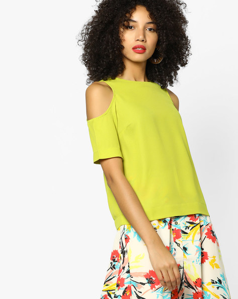Cold-Shoulder Top By AJIO ( Limegreen )