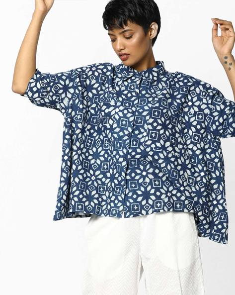 Bagru Handblock Print Cotton Top By PE IW Fusion ( Indigo )