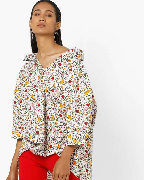 Floral Print Top With Asymmetrical Hemline By AJIO ( Offwhite )