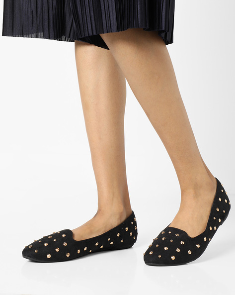 Ballerinas With Studded Embellishments By Truffle Collection ( Black ) - 460139679005