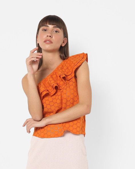 Ruffled One-Shoulder Schiffli Top By Only ( Orange )