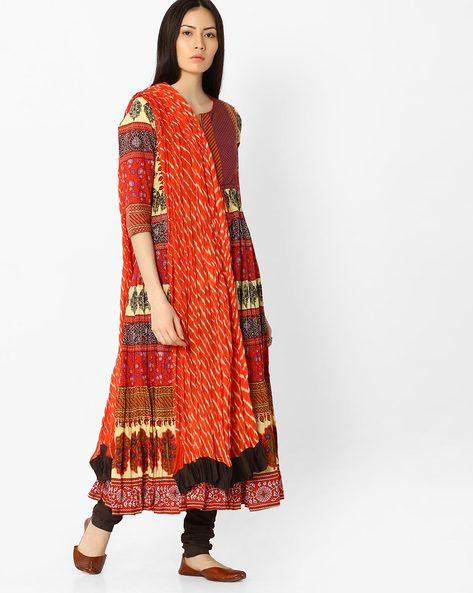 Printed Churidar Kurta With Dupatta By Rain & Rainbow ( Red )