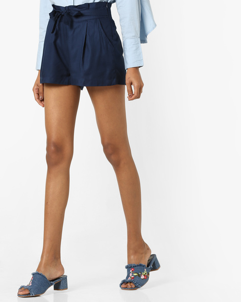Mid-Rise Shorts With Tie Up By RIO ( Navy )
