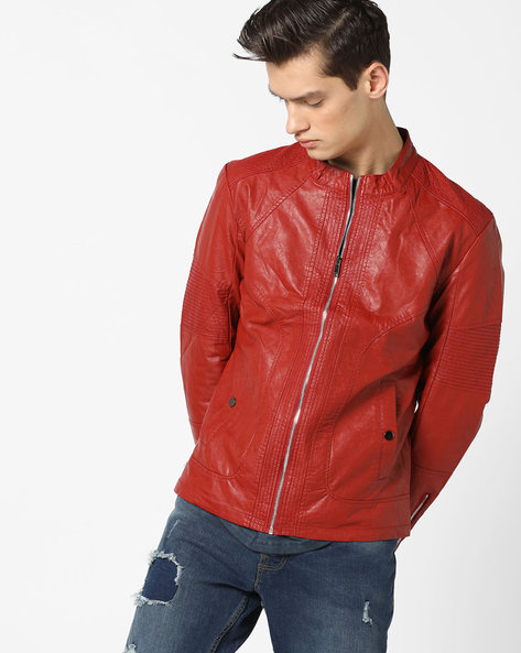 Slim Fit Biker Jacket With Band Collar By The Indian Garage Co ( Red )
