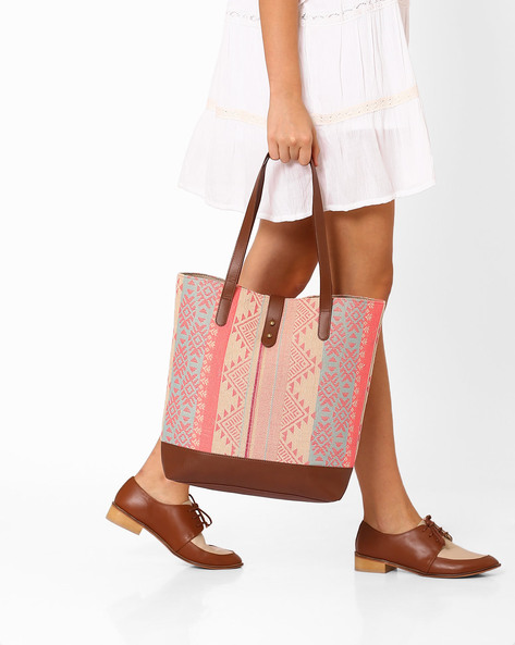 Jacquard Tote Bag By AJIO ( Pink )