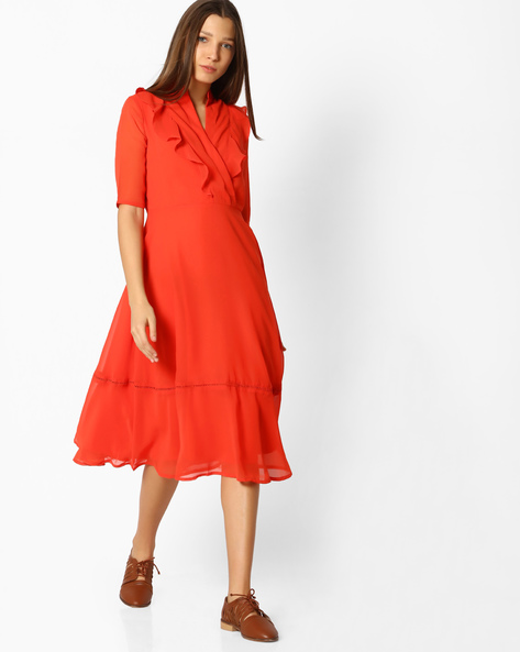 Ruffled Fit & Flare Dress By Femella ( Coral )