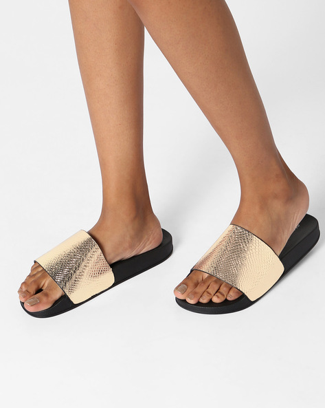 Textured Open-Toe Slide Flats By Glamorous ( Gold )