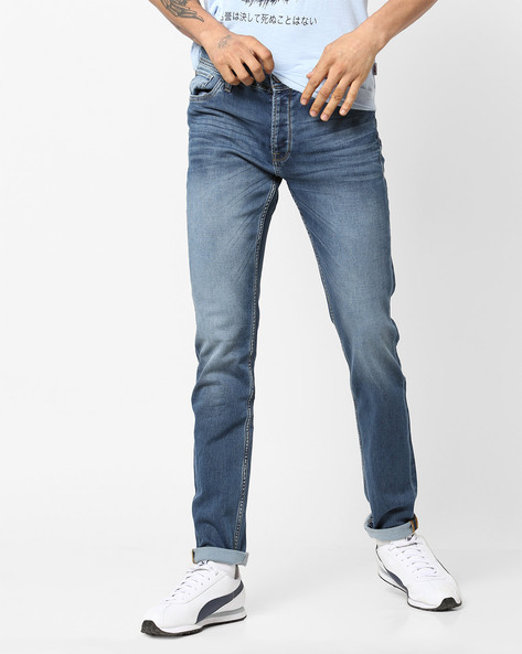 Mid-Rise Mid-Washed Jeans By Jack & Jones ( Blue )
