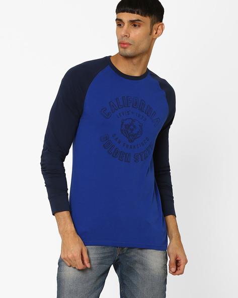 Graphic Print Cotton T-shirt By LEVIS ( Blue )