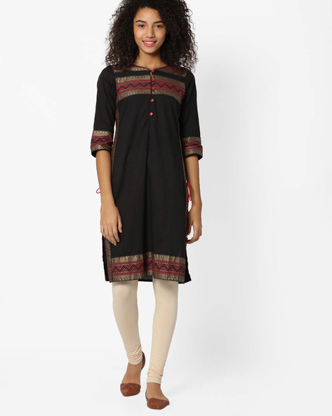 Printed Straight Kurta With Side Tie-Ups By AVAASA MIX N' MATCH ( Black )