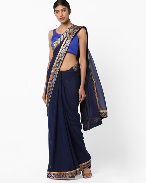 Chiffon Saree With Contrast Border By Vastrangi ( Navyblue )